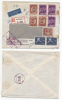 1960 SWEDEN Registered Air Mail Cover STOCKHOLM To NEW YORK USA