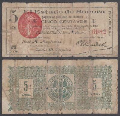 L. 1913-14 Revolutionary Mexico El Estado De Sonora, Hermosillo 5 Centavos