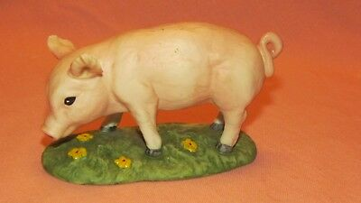 Andrea by Sadek Porcelain Baby PIG in the Grass Figurine #8477 Piglet 1989