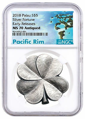 2018 Palau Fortune Four-Leaf Clover 1 oz Silver Antiqued $5 NGC MS70 ER SKU51840