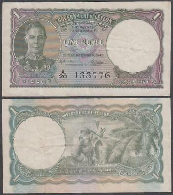1942 Government of Ceylon King George VI 1 Rupee
