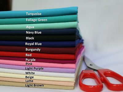 """Plain Solid Polycotton Fabric By The Metre Colours Dress Craft 112cm 44"""" Wide"""