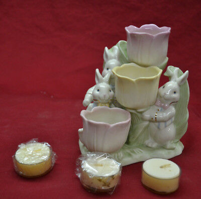Lenox Occasions Easter Tulip Tealight Holder Rabbits * NEW WITH PAPERWORK & BOX