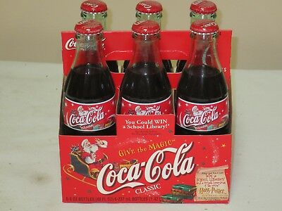 2001 Coca Cola 6 Pack Holiday Harry Potter Full Never Opened Bottles
