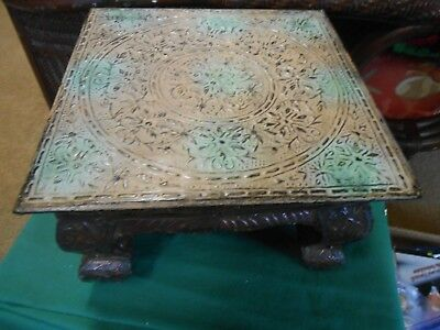 RARE Vintage TIN TOP with Copper Over Wood Legs PLANT STAND..Ornate Design-SALE
