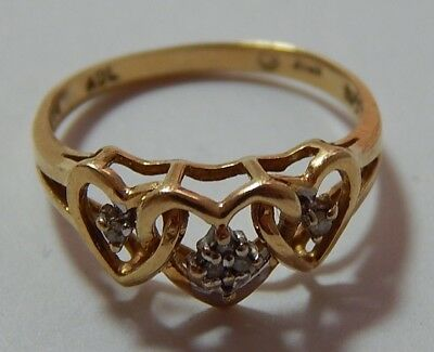Vintage 10KT Yellow Gold Ring   Size 6 1/4  Diamond Chips