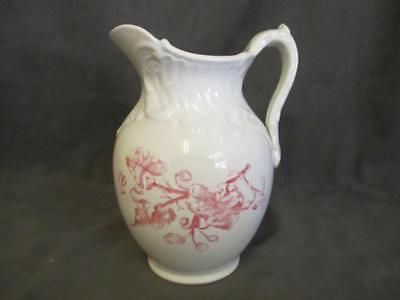 E5  Antique URSILLA Ironstone Pitcher - Pink Floral Pattern