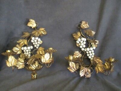 T1 Vintage Gold GILT Leaf & GRAPES Ornate Candleholder Wall Sconces Pair - ITALY