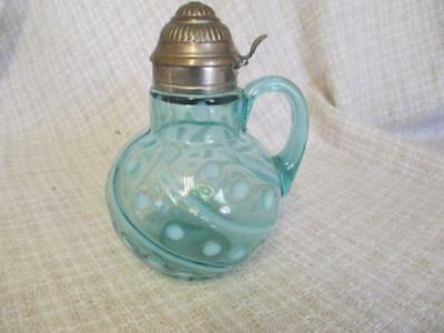 X4  1882 Antique Blue Glass Dot & Swirl Syrup Pitcher Metal Dome Lid