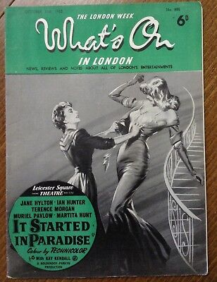 "1952 Vintage magazine, "" The London week, What's on in London ""  Jane Hylton."