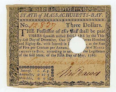 (MA-280) May 5th, 1780 $3 MASSACHUSETTS Colonial Currency Note AU
