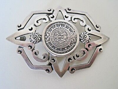 Substantial Art Deco Solid Sterling Silver Pierced Mexican Brooch Pendant
