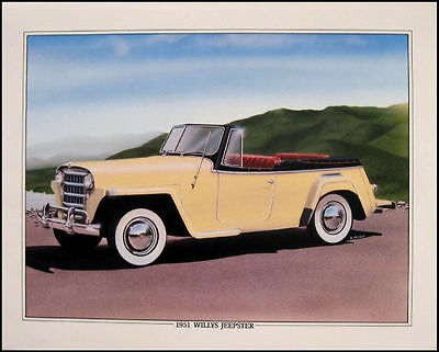 1950 1951 Willys Jeepster Orig Art Print Lithograph