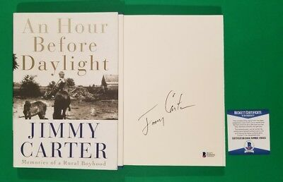 President Jimmy Carter Full Name Signed Book An Hour Before Daylight + Bas Coa
