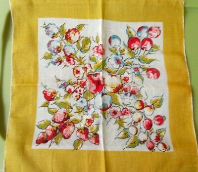 Vintage Handkerchief Strawberry/Fruit FLORAL