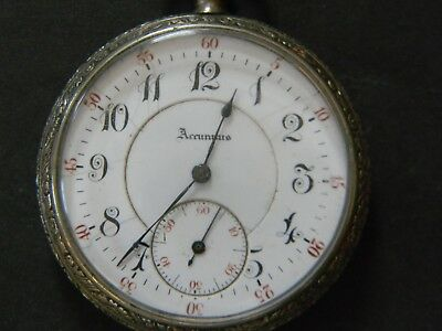 Antique Accuratus White Gold Filled Pocket Watch - Very Good Running Condition