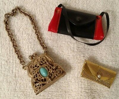 Vintage Metal Doll Purse Collectible Art Deco Gold Tone With Stones Barbie Size