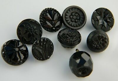 LOT VINTAGE ANTIQUE Black GLASS StYlized FLOWER PICTURE BUTTONS brass shank