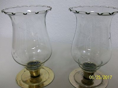 Home Interior/homco--Set Of 2-Etched-Wheat Pattern Clear Glass Votive Cups