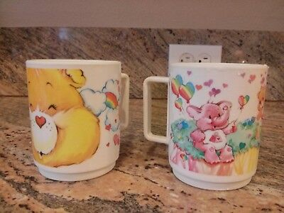 2 Vintage CARE BEARS 1983 DEKA NJ USA Plastic Cups  Mugs American Greetings Corp