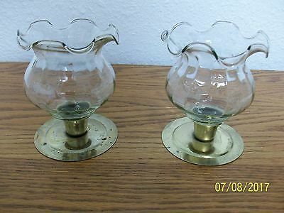 Home Interior/homco--Set Of 2--Fluted Top  Clear Glass Votive Cups