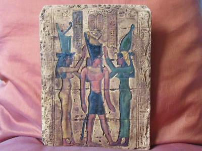 Amazing Hand Carved Antique Wall Plaque of Ancient Egyptian Pharaoh Crowned