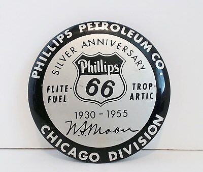 VTG Mirror Paper Weight Phillips 66 Silver Anniversary Ad Parisian Novelty Co