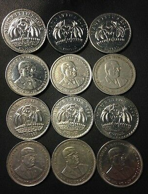 Old MAURITIUS Coin Lot - 12 Great Scarce Coins - 5 Rupee - Lot #M16