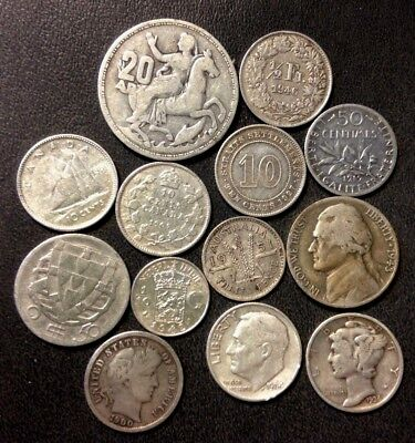 Vintage WORLD Silver Coin Lot - 1900-1964 - 13 Silver Coins - Lot #M17