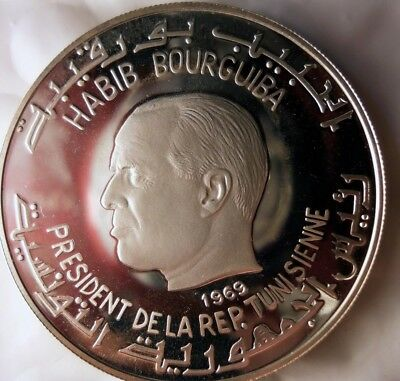 1969 TUNISIA DINAR - SILVER PROOF  - Big Rare Crown Coin - Lot #F24