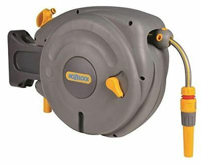 Hozelock Auto Rewind Hose Reel with Connectors and Fittings - Colour May Vary