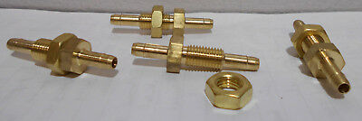 "Lot of 2 New Brass Bulkhead Hose Fittings 5/16-24 UNF , 1/8"" ID Barbs"