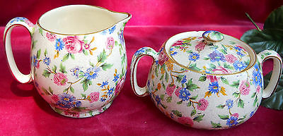 Royal Winton Grimwades Old Cottage Chintz Countess Creamer Sugar Vintage #9632