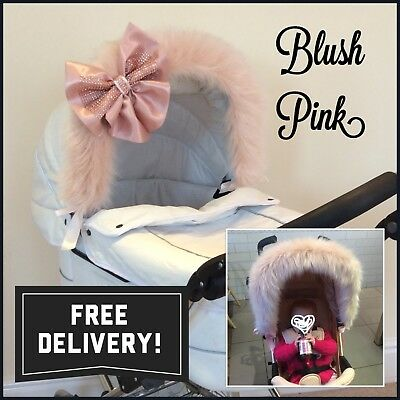 BLUSH PINK Rose Gold LUXURY Pram Fur Hood Trim - Long Fluffy Faux Fur - ANY Pram