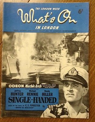 "1953 Vintage magazine, "" The London week, What's on in London ""  Jeffrey Hunter"