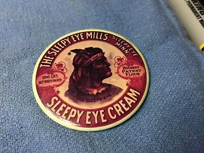 Vintage Celluloid OLD SLEEPY EYE MILLS CREAM FLOUR MN Advertising Pocket Mirror