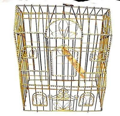 "Ornate Gold Tone Metal 18""in. Bird House Cage For Home Decor Plants Decorating"