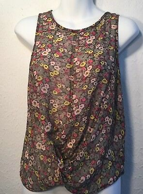 b9ad090c ANTHROPOLOGIE PETTICOAT ALLEY Sleeveless Sheer tunic floral Size L ...