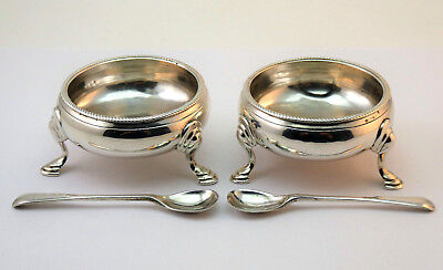 c1765, SUPERB PAIR ANTIQUE 18thC GEORGIAN GEORGE III SOLID SILVER OPEN SALTS