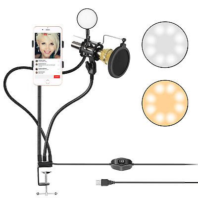 Neewer Broadcast USB LED Selfie Ring Light with Cellphone and Microphone Holder