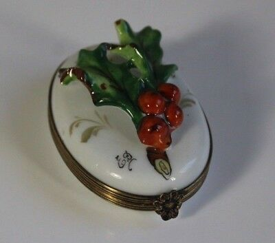 Vintage Limoges Holly Berry & Leaf  French Trinket Box ~ Signed by Artist