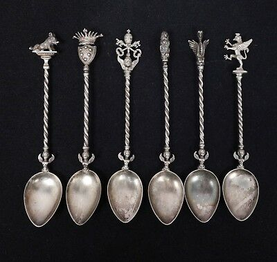 Antique Set 6 Italian 800 Silver Ornate Heraldic Demitasse Chocolate Spoons