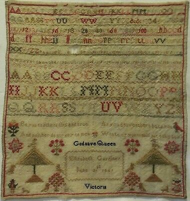 Early/mid 19Th Century Alphabet & Motif Sampler By Elizabeth Gardiner - 1841