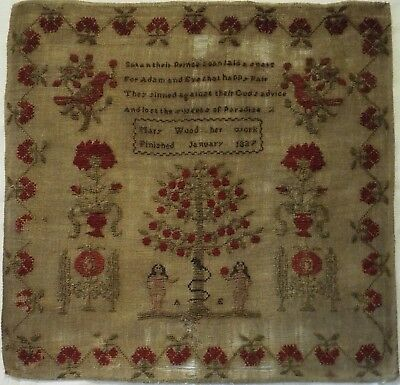 Early 19Th Century Adam & Eve, Motif & Verse Sampler By Mary Wood - 1837