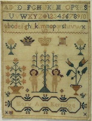 MID/LATE 19TH CENTURY ADAM & EVE & MOTIF SAMPLER BY MARY ANN KERRIDGE - c.1870