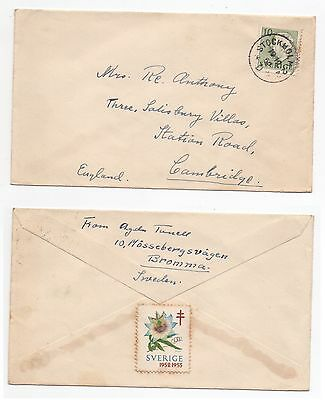 1952 SWEDEN Cover STOCKHOLM To CAMBRIDGE GB SG318 Bromma