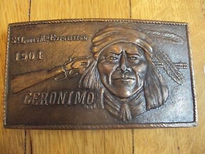 Indian Geronimo St. Louise Mo Exposition 1904 Dedication Vintage Copper Buckle