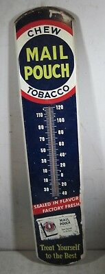 Vintage Antique Tin Metal Chew Mail Pouch Tobacco Advertising Sign Thermometer