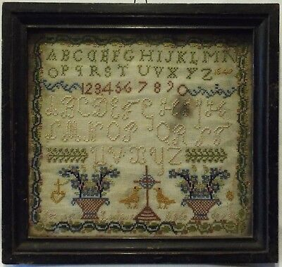 Small Mid 19Th Century French Sampler By Jeannette Lachaux Aged 9 - 1849
