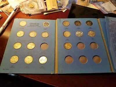 Lot Of 17 Different Dated Canadian Silver 25 Cents 1952-1967 Coin Board Included